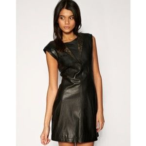 TED BAKER LEATHER FLORAL CUT OUT  DRESS SHEATH